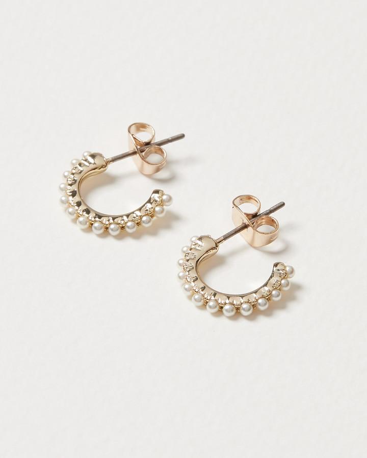 Alegre Faux Pearl Row White Hoop Earrings