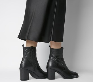 Office Away Casual Heeled Boots Black Leather