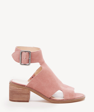 Sole Society Women's Tally Block Heels Sandals Taupe Size 5 Suede From