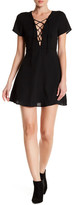 Lucca Couture V-Neck Lace-Up Short Sleeve Dress