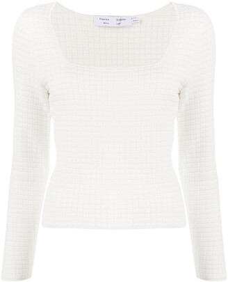Proenza Schouler White Label Quilted-Knit Square-Neck Top