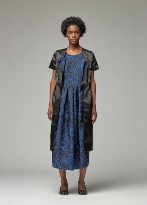 Comme des Garcons Women's Floating Jacquard Double Layer Short Sleeve Dress in Black X Black/Blue Size XS