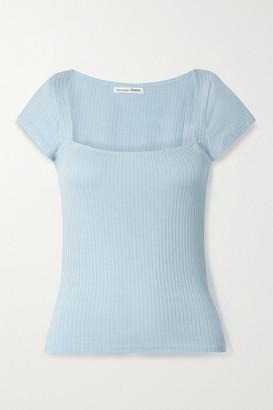 Reformation Net Sustain Bardot Ribbed Stretch-tencel Modal Top - Blue