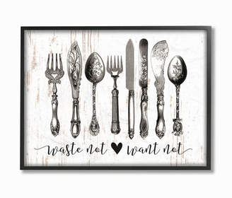 """Stupell Industries Waste Not Want Not Silverware Drawing Framed Giclee Art, 11"""" x 14"""""""