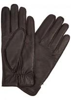 Boss Dark Brown Grained Leather Gloves