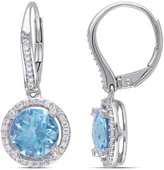 Diamond Select Cuts 14K 4.76 Ct. Tw. Diamond & Swiss Blue Topaz Earrings