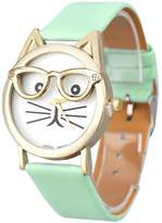 ABC Women's Watch, Women's Fashion Cute Glasses Cat Analog Quartz Watch Dial Wrist Watch