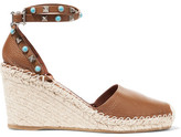 Valentino Textured-leather Espadrille Wedge Sandals - Tan