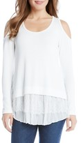 Karen Kane Women's Tiered Hem Cold Shoulder Sweater