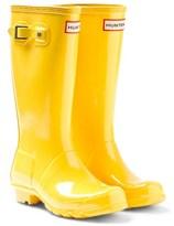 Hunter Yellow Kids Gloss Wellington Boots
