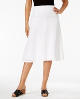 Alfred Dunner Petite Cotton Blue Lagoon Eyelet A-Line Skirt
