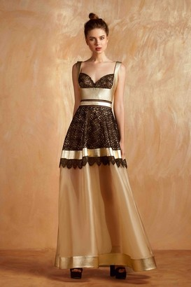 Gemy Maalouf Sleeveless Gold A-Line Evening Gown