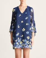 Vince Camuto Floral V-Neck Chiffon Dress