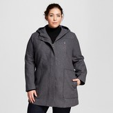 Women's Plus Size Wool Parka with Hood Heather Gray - Ava & Viv