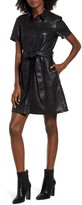 Blank NYC Blanknyc Belted Faux Leather Shirtdress