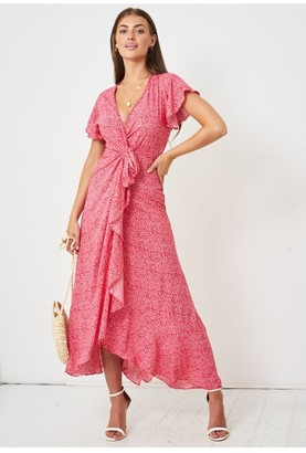 Love Frontrow Ditsy Floral Short Sleeve Maxi Wrap Dress | Red