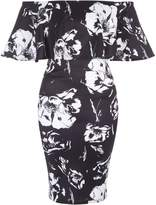 Jane Norman Floral Ruffle Bardot Dress