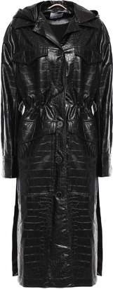Nanushka Gus Croc-effect Vegan Leather Hooded Trench Coat