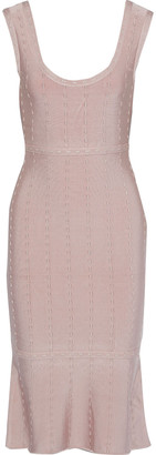 Herve Leger Fluted Metallic-trimmed Bandage Dress