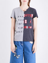 Valentino Ladies Light Grey Contrast Rebellious spirit Chain-Embellished Printed Cotton-Jersey T-Shirt