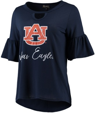 Unbranded Women's Navy Auburn Tigers Ruffle And Ready Keyhole Tri-Blend 3/4-Sleeve T-Shirt