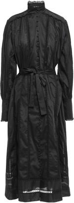 Zimmermann Oversized Belted Lace-trimmed Cotton-poplin Midi Dress