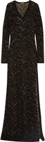 Roberto Cavalli Metallic stretch jacquard-knit gown