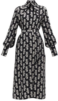 16Arlington Namika Puritan-collar Fil-coupe Crepe Shirt Dress - Black Print