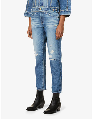 AG Jeans Ex-Boyfriend distressed straight leg high-rise jeans