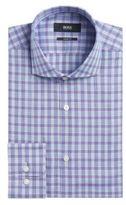 HUGO BOSS Plaid Cotton Dress Shirt, Sharp Fit Mark US 17.5/RPurple