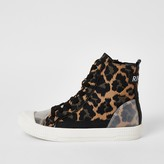 River Island Brown leopard print lace-up high top trainers