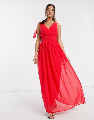 Little Mistress Aries plunge front maxi dress in fiery coral