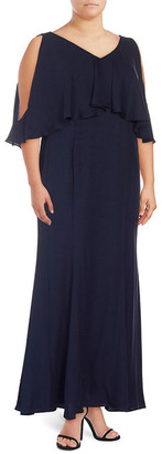 Marina Plus Ruffle-Trimmed V-Neck Gown