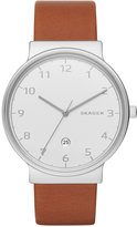 Skagen Men's Ancher Dark Brown Leather Strap Watch 40mm SKW6292