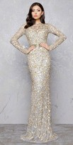 Mac Duggal Gold Branch Keyhole Evening Dress