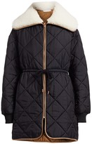 See by Chloe Quilted Faux Shearling Collar Parka Coat