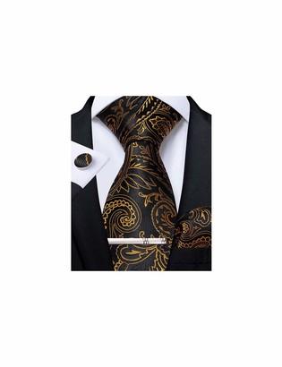 "DiBanGu Paisley Tie and Pocket Square Men's Woven Necktie Silk Handkerchief and Cufflink Set - gold - 59"""