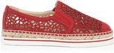 Jimmy Choo DAWN Red Laser Perforated Suede Espadrilles