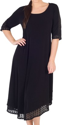 Chesca Asymmetric Mesh Square Hem Jersey Dress, Black