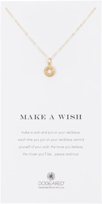 Dogeared Gold Plated Sterling Silver Make A Wish Donut Pendant Necklace