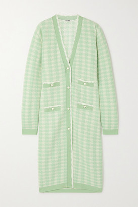 Miu Miu Faux Pearl-embellished Houndstooth Wool-blend Cardigan - Mint