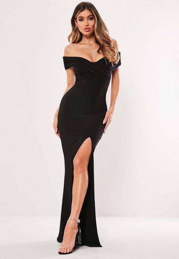 Missguided Petite Black Bardot Wrap Slit Slinky Maxi Dress
