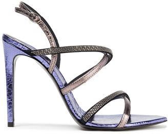 Just Cavalli Bead-embellished Metallic Faux Snake-effect Leather Sandals