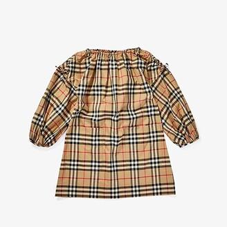 BURBERRY KIDS Alenka Dress (Little Kids/Big Kids) (Archive Beige Check) Girl's Clothing