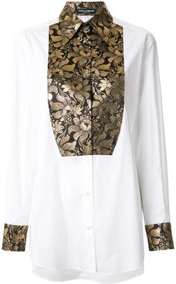 Dolce & Gabbana Brocade Tuxedo Shirt