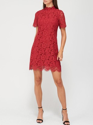 Very High Neck Lace Tunic Dress - Deep Red