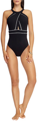 Jets High-Neck One-Piece Swimsuit with Piping