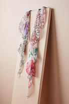 Anthropologie Painted Florals Ruffled Scarf