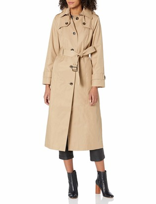 London Fog Women's Single Breasted Long Trench Coat with Epaulettes and Belt