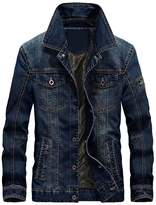 Mordenmiss Men's Long Sleeve Denim Jacket Coat With Front Pockets Fleece M
